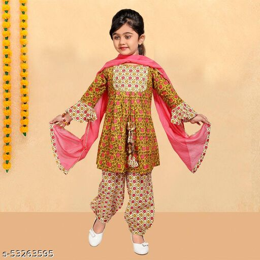 Hopscotch Girls Cotton Pure Ethnic Afghani Salwar With Kurta And Dupatta in Multi Color (1094900)