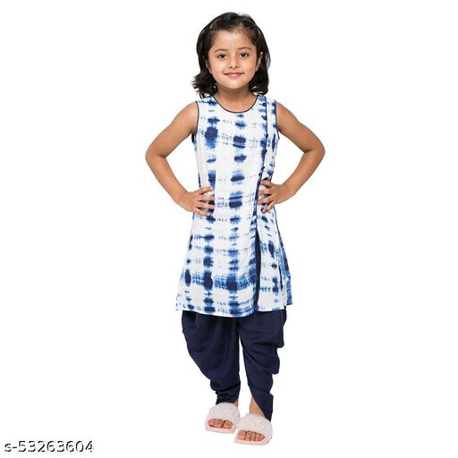 Hopscotch Girls Rayon Graphic Printed Dhoti Kurta Set in White Color (1064131)