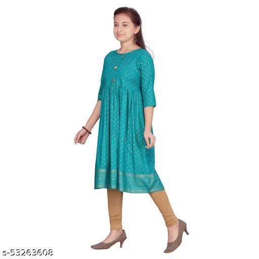 Hopscotch Girls Cotton Short Sleeves Kurti Leggings Set in Green Color (1088818)