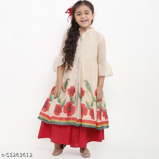 Hopscotch Girls Cotton Bird Printed Kurta Set in Beige Color (946585)