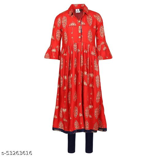 Hopscotch Girls Cotton Full Sleeves Kurti And Legging Set in Red Color (1088809)
