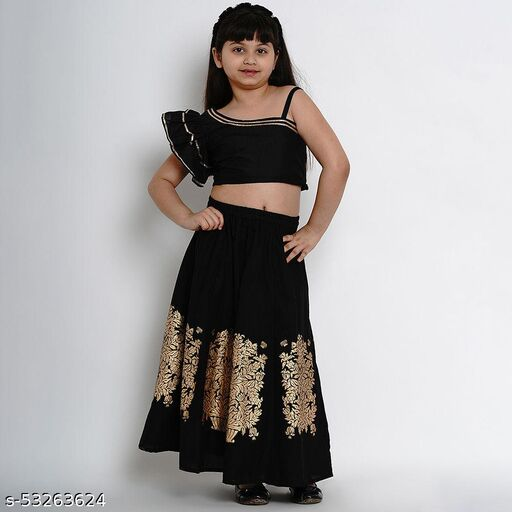 Hopscotch Girls Cotton Foil Print Skirt With One Side Shoulder Crop Top in Black Color (969368)