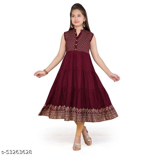 Hopscotch Girls Cotton Sleevless Kurti And Legging Set in Maroon Color (1088815)