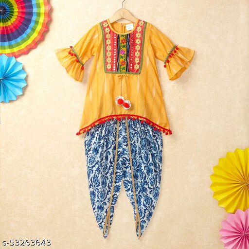 Hopscotch Girls Cotton Ikat Embroide Top With Printed Dhoti Set in Multi Color (1093137)