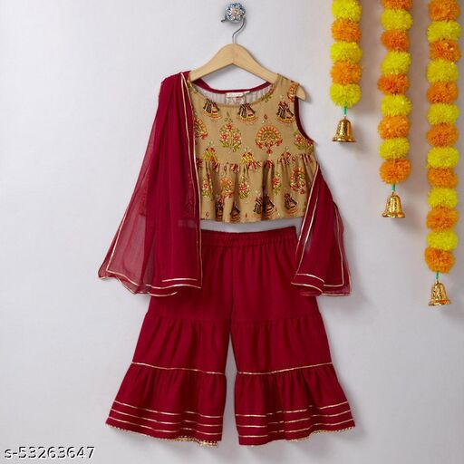Hopscotch Girls Cotton Jaipuri Printed Rayon Sharara Set With Duppatta in Peach Color (1068359)