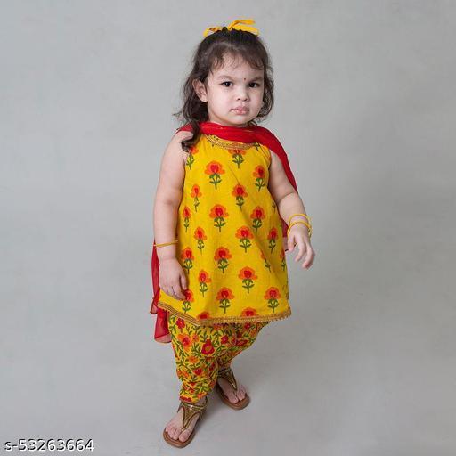 Hopscotch Girls Cotton Suit Set Floral in Yellow Color (1086238)