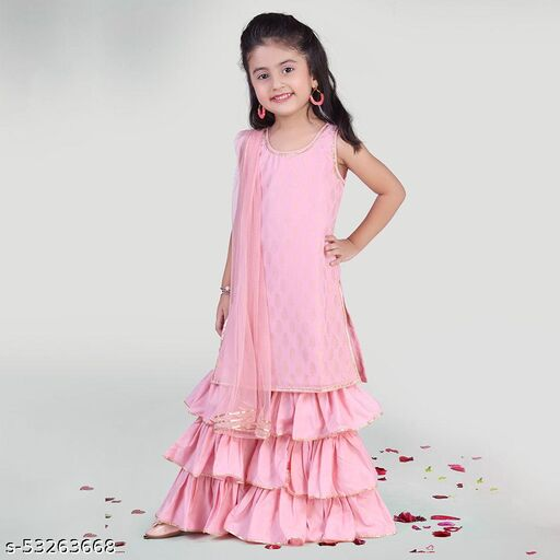 Hopscotch Girls Polyetser Sleevless Sharara And Kurti Set For With Dupatta in Pink Color (1064482)