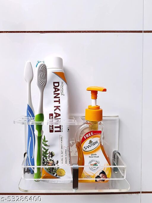Wall Mounted self Adhesive Acrylic Tooth Brush/Toothpaste Holder/Stand/Tumbler/Toothpaste for Bathroom Stand Organizer Rack for Home (E Light clear, Acrylic)