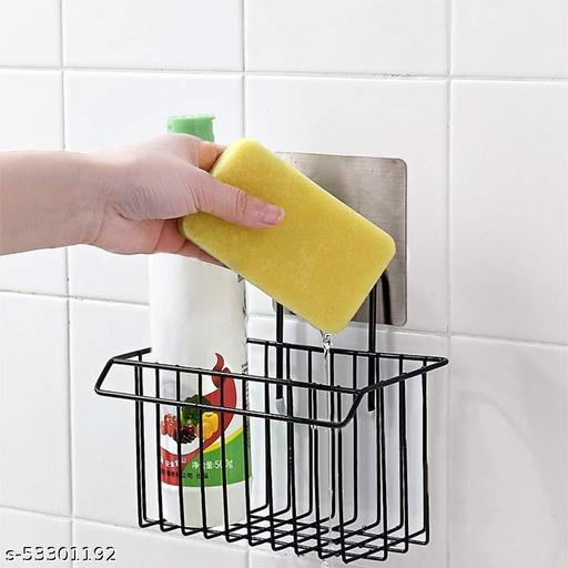 Metal Iron Sponge Holder Rack Drain Rack Basket for Kitchen Brush Soap Dish-Washing Liquid, Towel Rack, Shampoo, Cosmetic Bottle Stand (Black)
