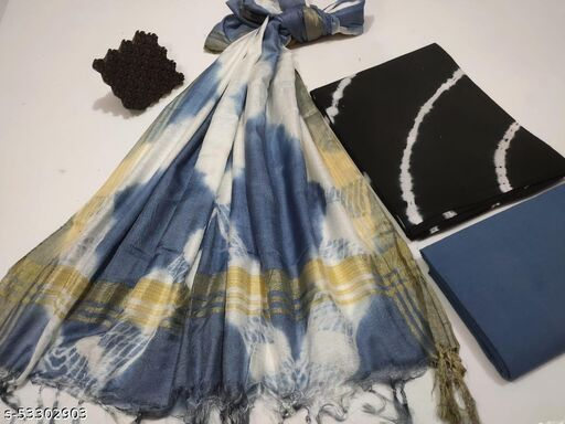 Hand block printed Cotton Suit Sets With Linen Dupatta