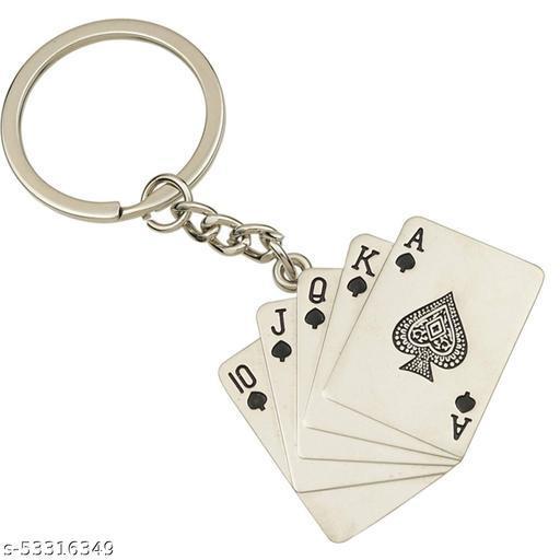 RIDDHI SIDDHI Premium Playing Card   Poker Cards   Flush   Deck of Card - Silver Keychain/Playing Cards   Poker Cards Metal Keychain for Car Bike Men Women Keyring
