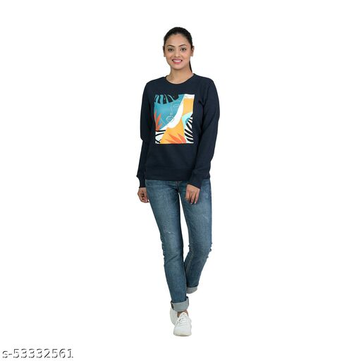 Zaps Winter Wear Casual Printed Cotton Blend Sweatshirts For Women's