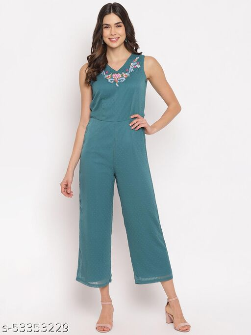 Mayra women's Green Embroideried Jumpsuit