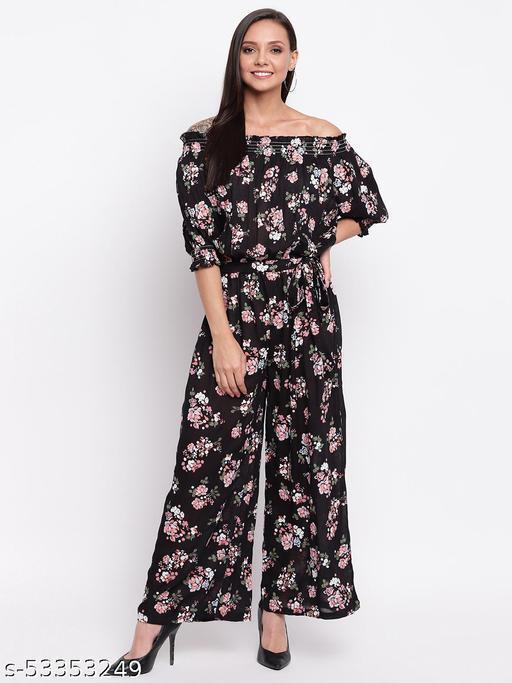 Mayra Women's Black Floral Print Jumpsuit