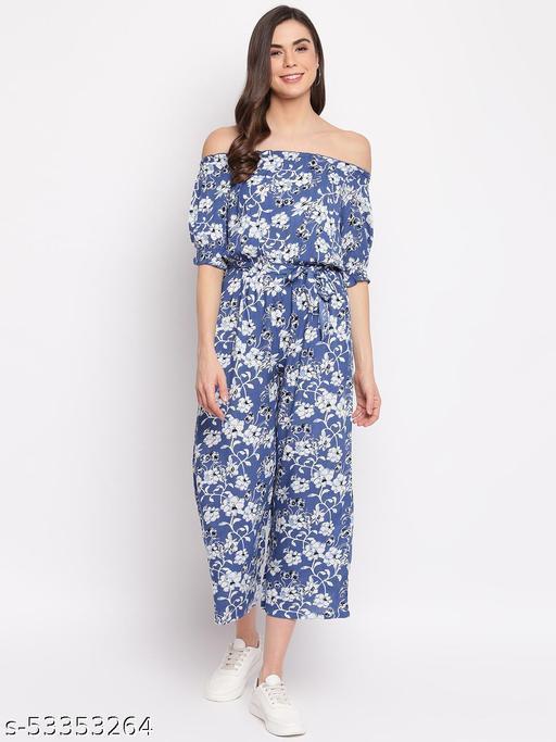 Mayra Women's Blue Floral Print Rayon Off-Shoulder Jumpsuit