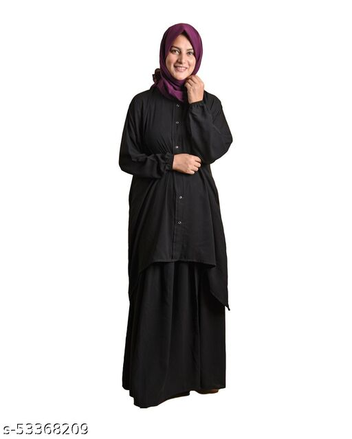 AMRAZ Maryam Dress Open Top with Skirt Arabian Premium Poly Chifffon Polyester Solid open Top & Skirt Set, Without Hijab