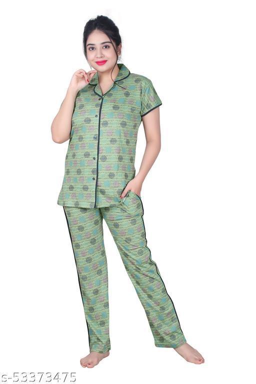 Women's Cotton Printed Round Neck Regular Tshirt & Pajama Nightwear