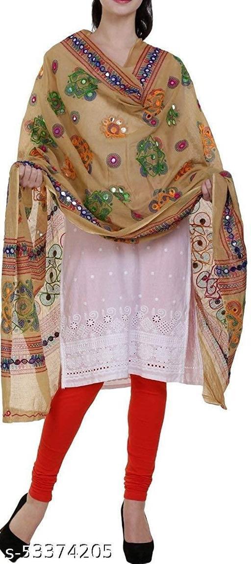 Women's Embroidery Mirror Work Multi-Colour Kutch Work Cotton Dupatta,single