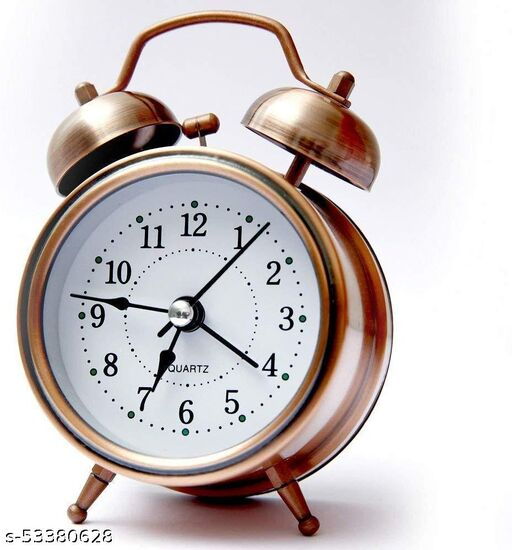 Metal Vintage Look Twin Bell Analog Table Alarm Clock, Copper Color, 16x12x6 cm