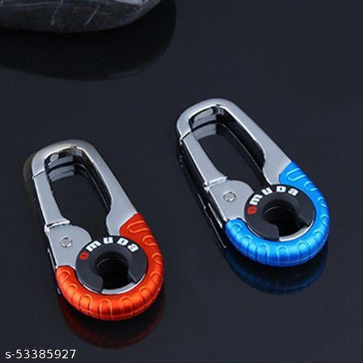 Omuda Hook Locking Silver Metal key ring Key chain for Bike Car Men Women Keyring 3755 COMBO PACK 2PES