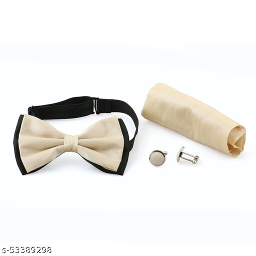 Bow Tie Yellow Colour Bow Tie Comes with Cufflinks & Pocket Square For Man's , Boys Comes In Gift Box