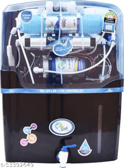 Earth Ro System NYC Black Model  15L ALKALINE VITAMIN B12 FILTER+RO + UV + UF + TDS Controller Water Purifier