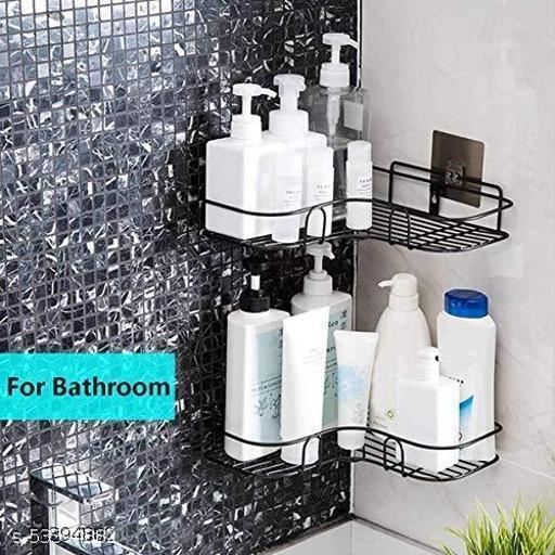ROYAL ENTERPRISE Stainless Steel Bathroom Corner Shelf Organizer Storage Hanging Shower Caddy Rack (Black)