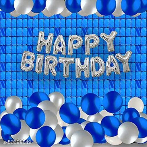 FEWKART Happy Birthday Banner Decoration Kit 32 Pcs Set for Husband Boys Balloons Decorations Items Combo with Blue Square Foil Curtain, Metallic Balloons