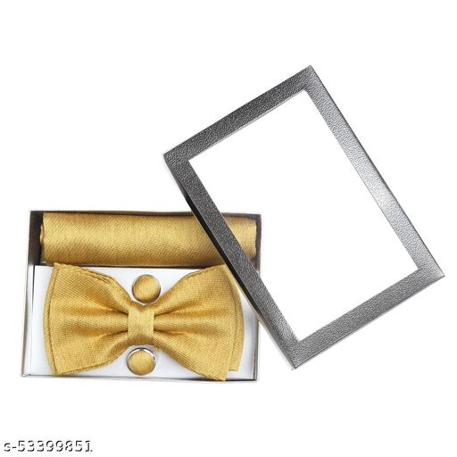 Bow Tie Yellow Bow Tie Comes with Cufflinks & Pocket Square For Man's , Boys Comes In Gift Box