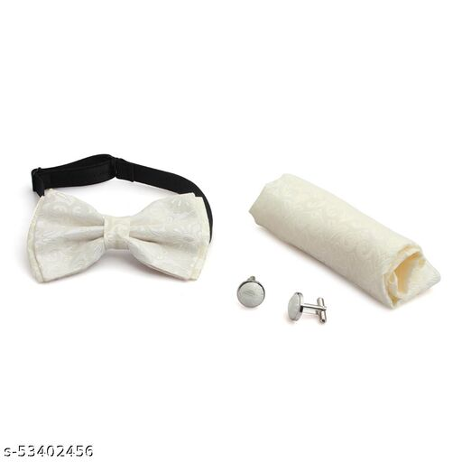 Bow Tie White Printed Bow Tie Comes with Cufflinks & Pocket Square For Man's , Boys Comes In Gift Box