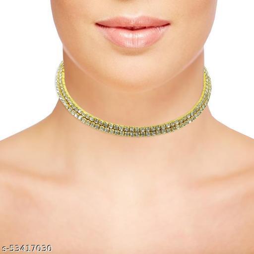 Two Line Gold Color Austrian Diamonds Necklace