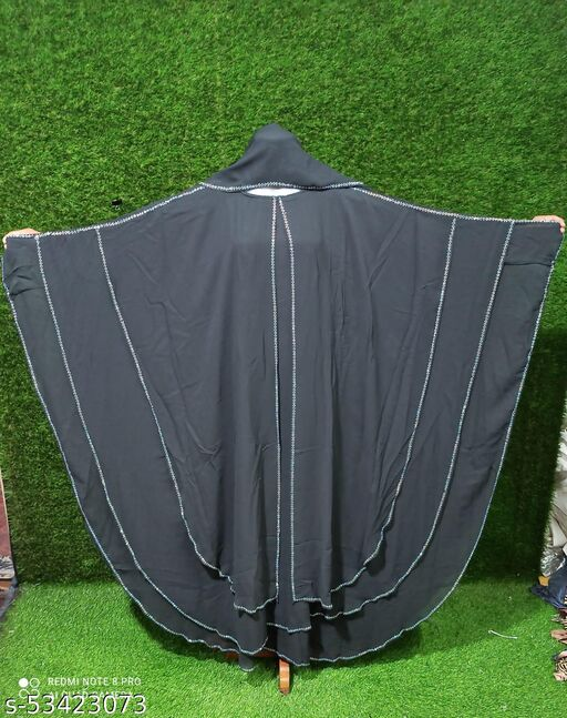 Dua Abaya Three layer georgette farasha diamond line work with hijab