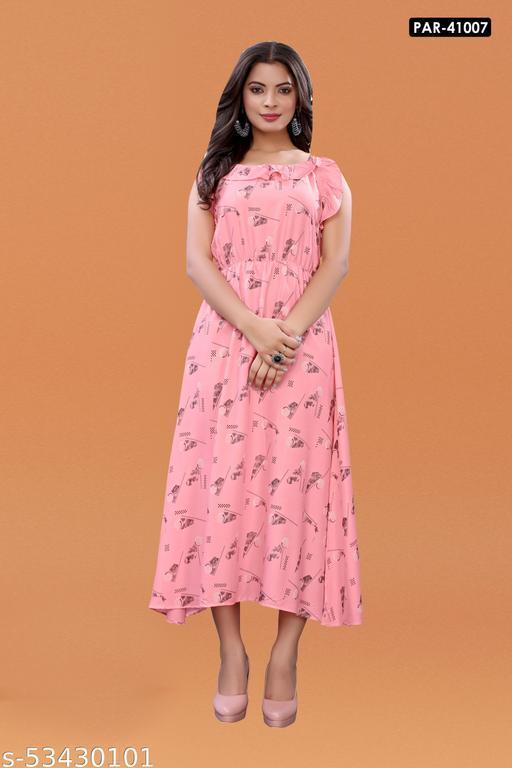 Pink Slub Cotton Casual Wear Abstract Print Kurti .