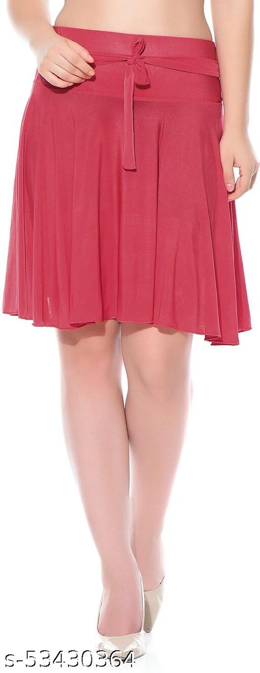 Mixcult Red Solid Knee Length Skirt
