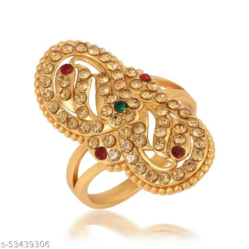 Gold Plated Brass Multi CZ Studded Designer Floral Ring For Girls Women.