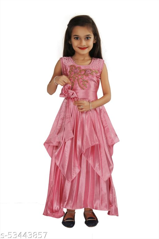 Blomster Sleeveless Moss Satin Gown With Stone Work-Pink