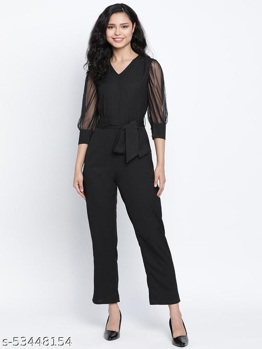 DRAAX FASHIONS Women Black ballon net sleeve Jumpsuit dress