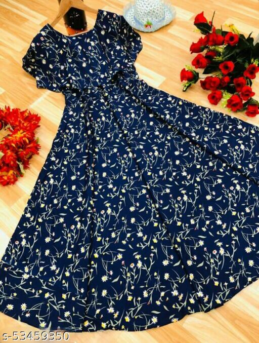 Women Navy Blue & White Floral Print Layered Maxi Dress