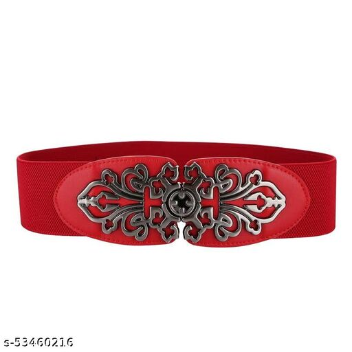 SYGA Women Leather Belt for Dress, PU Leather Stretchy Waist Belt with Abstract Metal Buckle, Retro Style - Red, Stretchable Upto 37 Inch