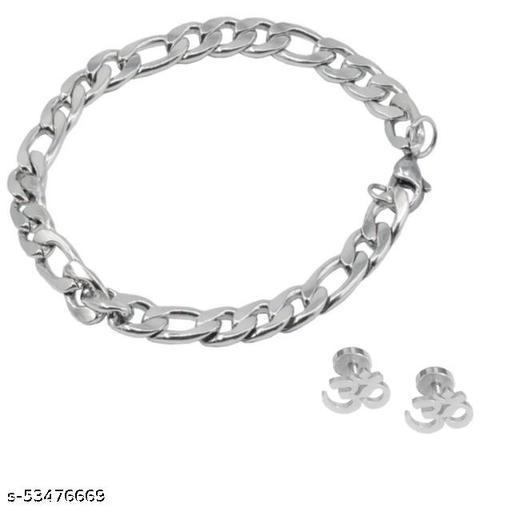Sterling Silver Bracelet And Om Studs For Boy / Men