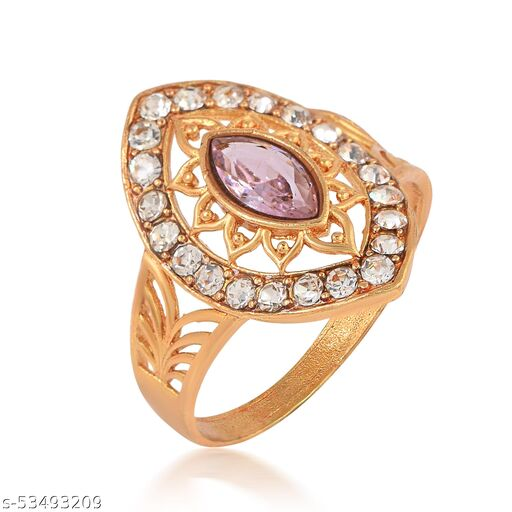 Gold Plated Brass Marquise Shape Faux Pink Sapphire and CZ Studded Designer Ring For Girls Women.