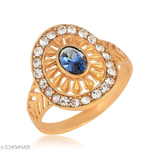 Admier Gold Plated Brass Oval Shape Faux Blue Sapphire and CZ Studded Designer Ring For Girls Women.