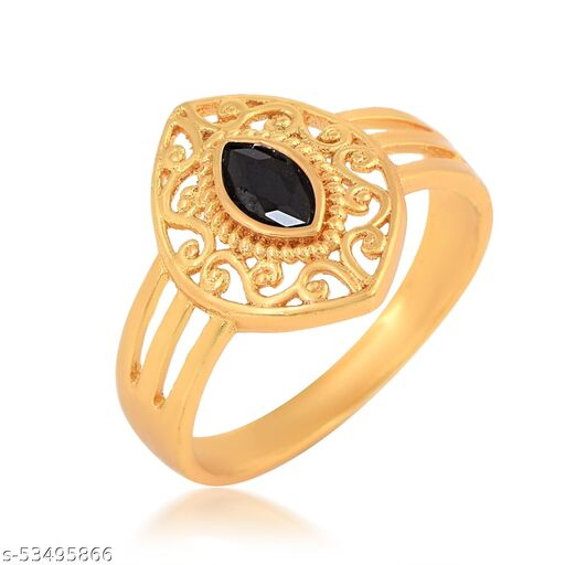 Gold Plated Brass Marquise Shape Faux Black Diamond Studded Floral Ring For Girls Women.