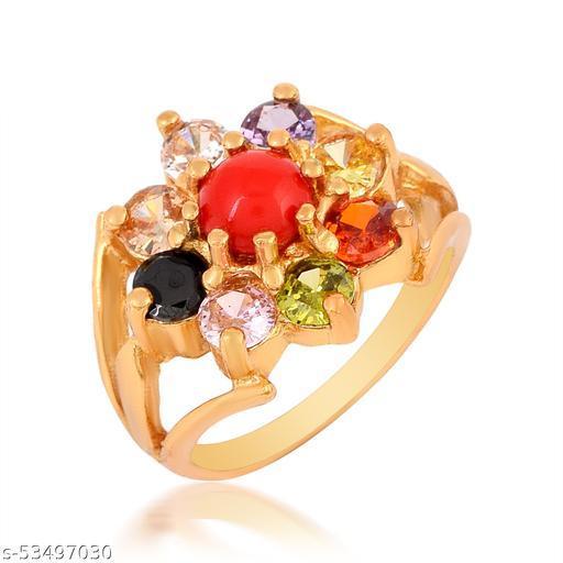 Admier Gold Plated Brass 9 Stone Navratan Stone Free Size Fashion Ring For Girls Women.