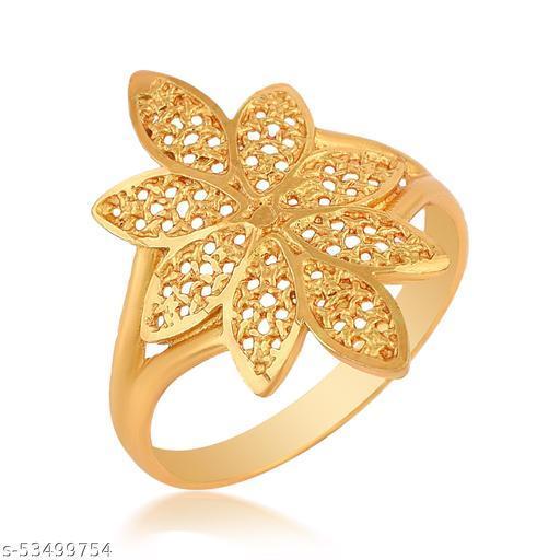 AC Gold Plated Brass Flower Design Handmade Raswara Work Traditional Ring For Girls Women.