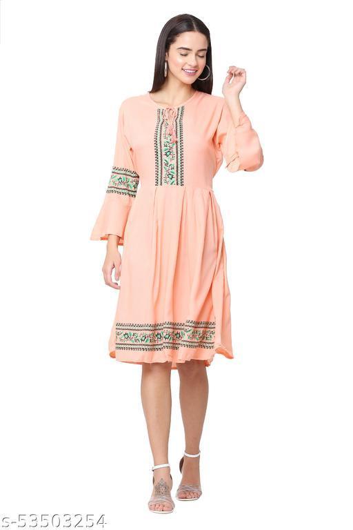 Light Peach Color Short Midi Dress