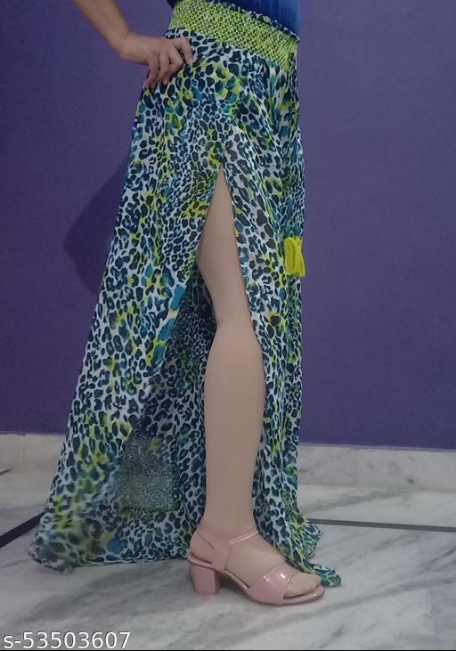 Side slit cut out green animal print skirt