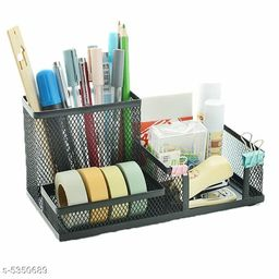 Desk Organizer Stationary Stand with Metal Mesh 3 Compartments