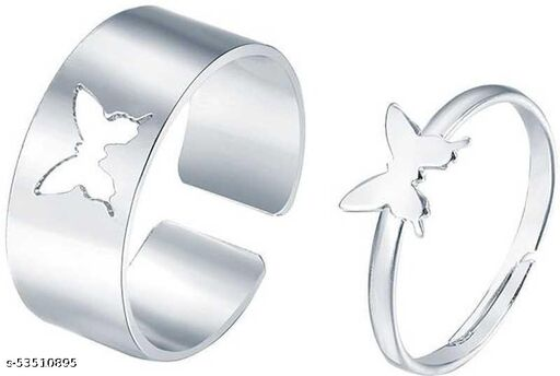 Amanis Butterfly adjustable couple ring in silver color for couples and love birds can also be gifted on occasion of marriage and anniversary or birthday in premium quality