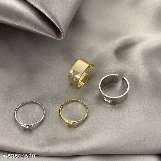 Amanis 2 couple ring set (total 4) heart lovely adjustable couple ring in gold and silver color for couples and love birds can also be gifted on occasion of marriage and anniversary or birthday in premium quality